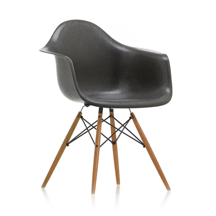 Eames Fiberglass Armchair DAW from Vitra in ash honey / Eames elephant hide grey