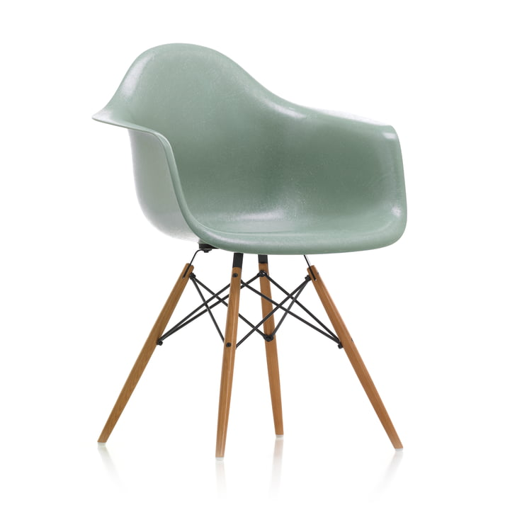 Eames Fiberglass Armchair DAW from Vitra in ash honey coloured / Eames sea foam green