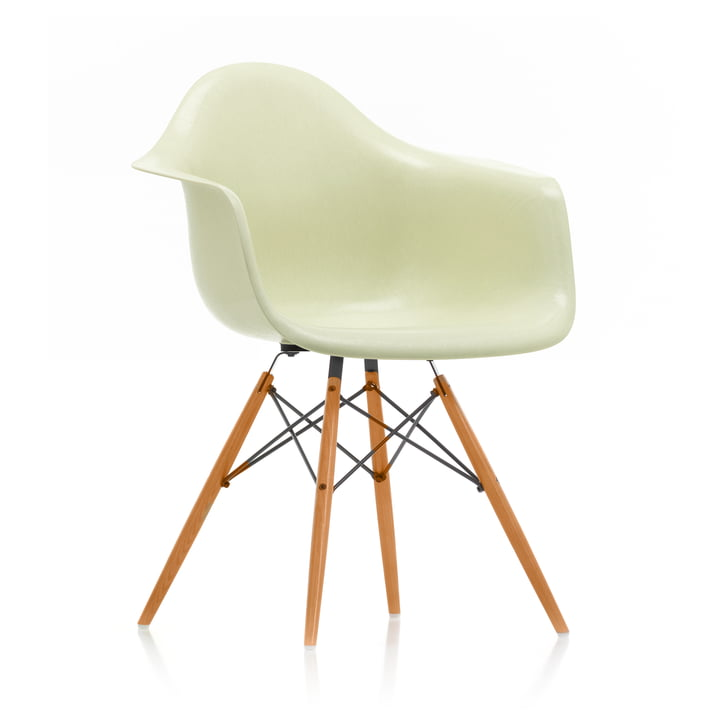 Eames Fiberglass Armchair DAW from Vitra in maple yellowish / Eames parchment