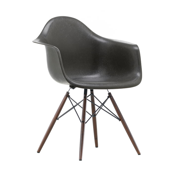 Eames Fiberglass Armchair DAW by Vitra in Maple dark / Eames elephant hide grey