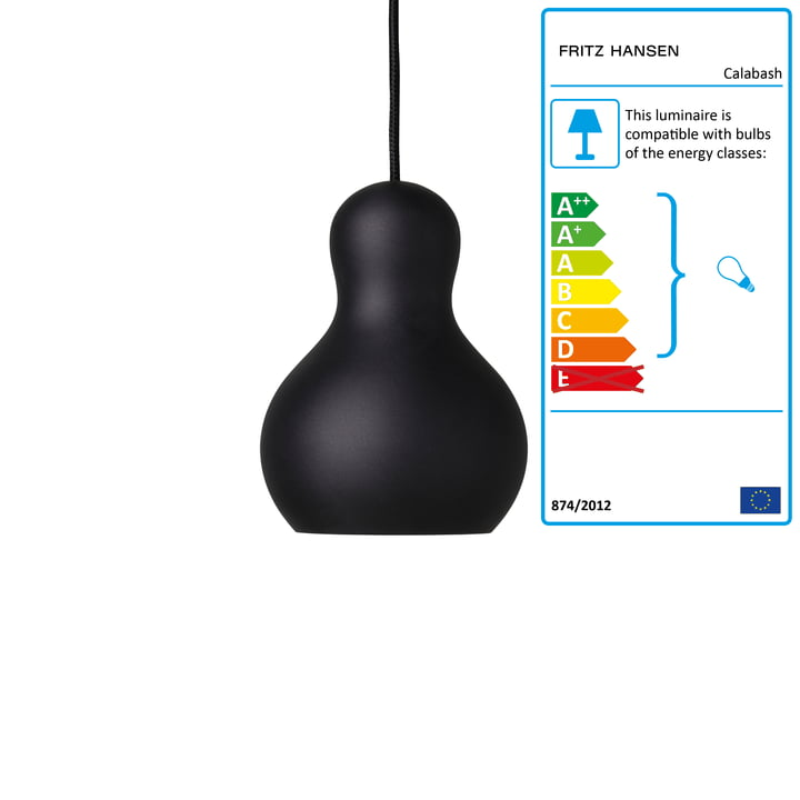 Calabash Pendant lamp P1 by Fritz Hansen in matt black