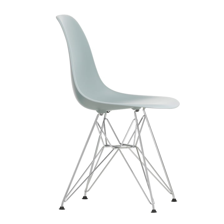 Eames Plastic Side Chair DSR by Vitra in chromed / light grey