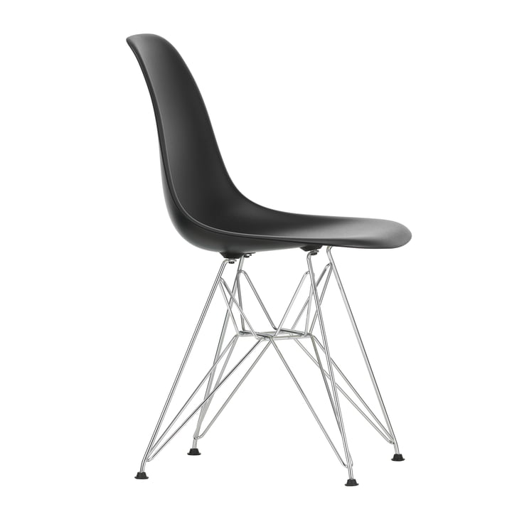Eames Plastic Side Chair DSR by Vitra in chrome-plated / deep black