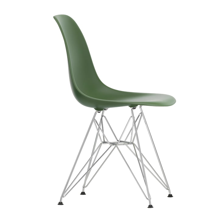 Eames Plastic Side Chair DSR by Vitra in chrome / forest