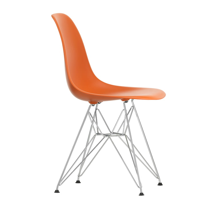 Eames Plastic Side Chair DSR by Vitra in chrome-plated / stainless orange
