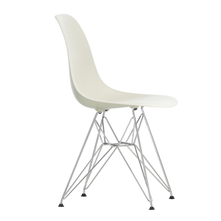 Eames Plastic Side Chair DSR by Vitra in chrome-plated / pebble stone