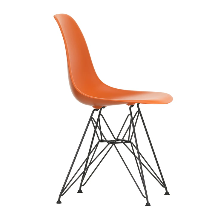 Eames Plastic Side Chair DSR by Vitra in basic dark / rust-orange