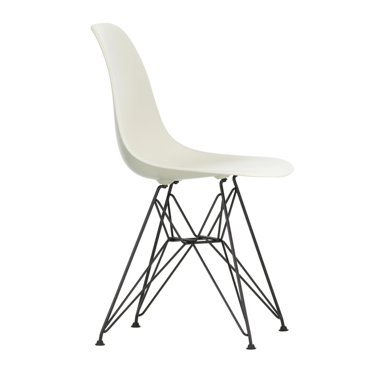 Eames Plastic Side Chair DSR by Vitra in basic dark / pebble stone