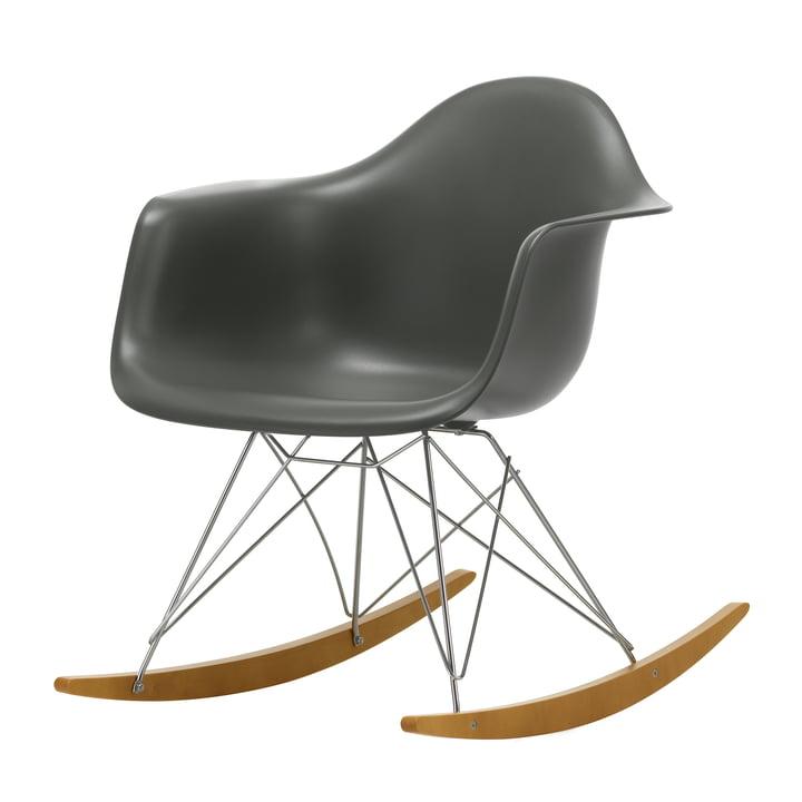 Eames Plastic Armchair RAR by Vitra in maple yellowish / chrome / granite grey