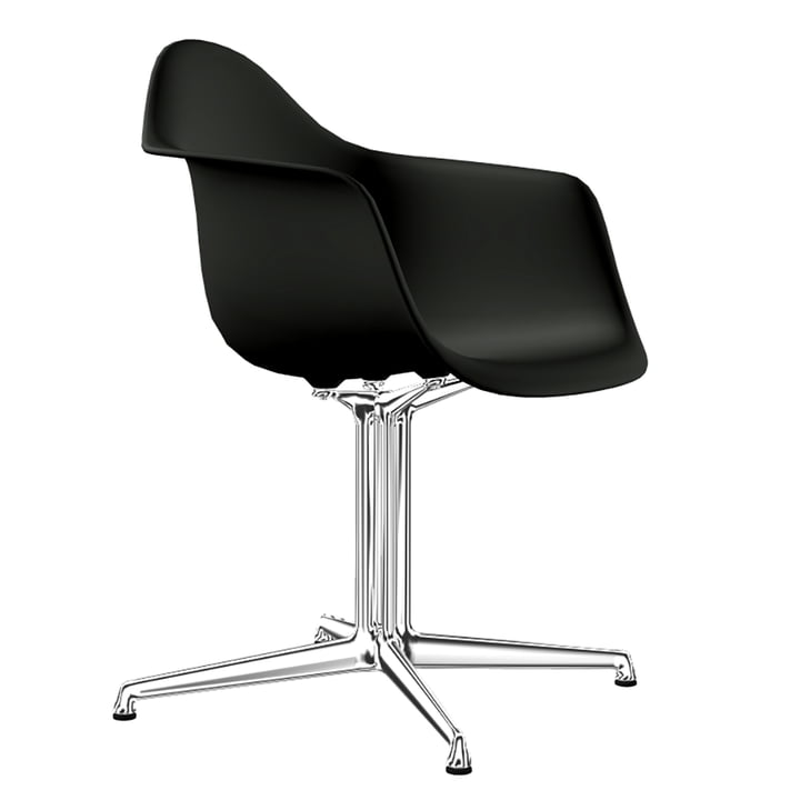 Eames Plastic Armchair DAL by Vitra in Aluminium polished / deep black