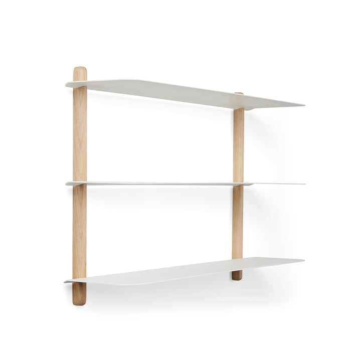 Nivo wall shelf A in oak light / white by Gejst