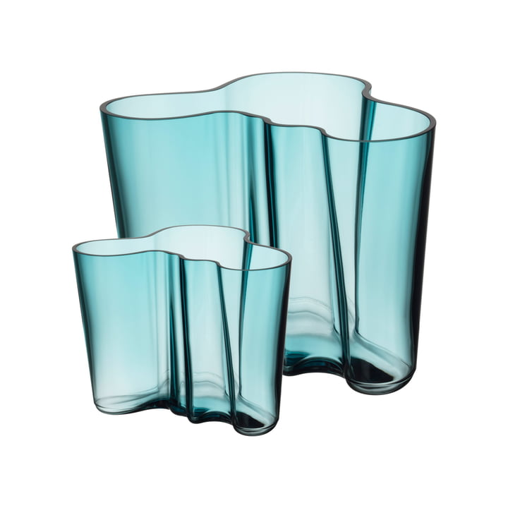 Aalto vase set 160 + 95 mm from Iittala in sea blue