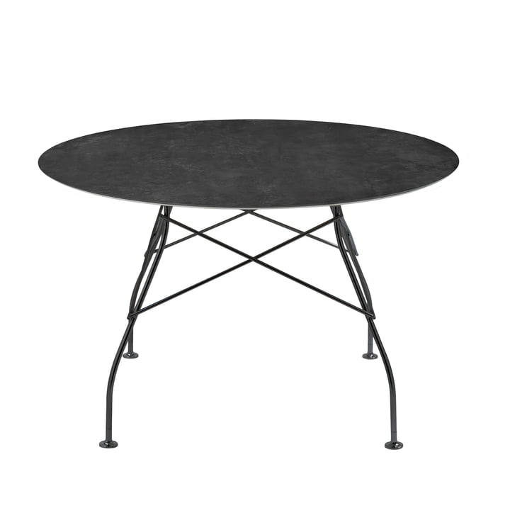 Glossy table Ø 118 x H 72 cm from Kartell in black / marble black