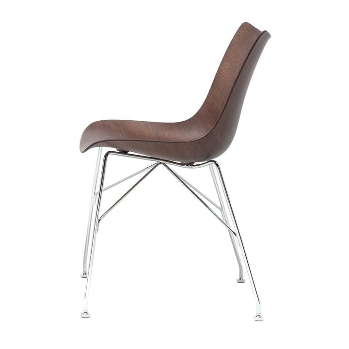P/Wood chair by Kartell in chrome / dark