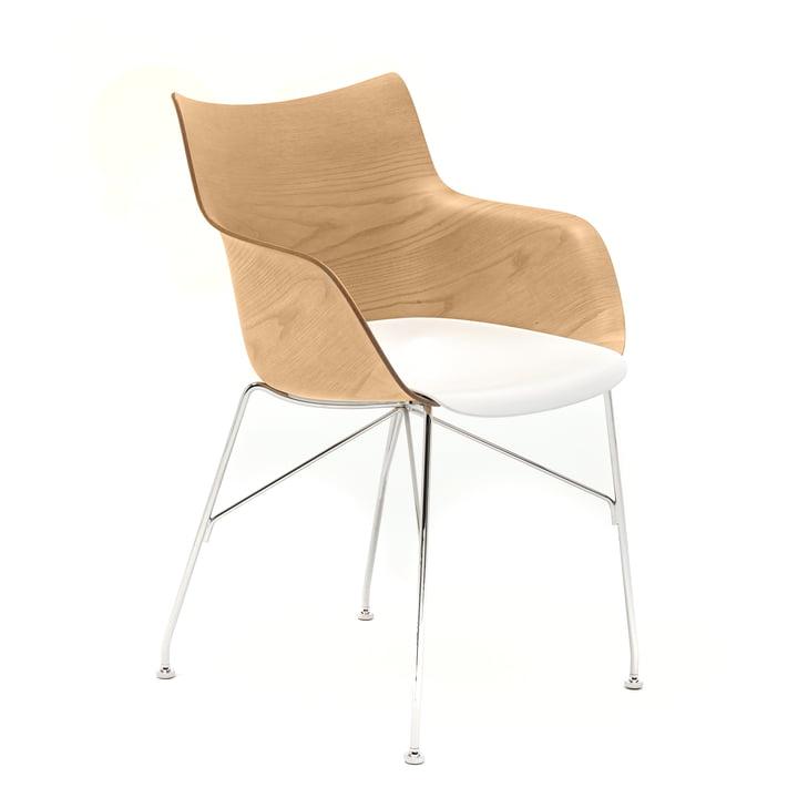 Q/Wood armchair from Kartell in chrome / white / light