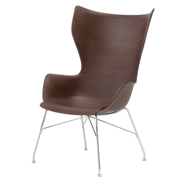 K/Wood armchair by Kartell in chrome / dark