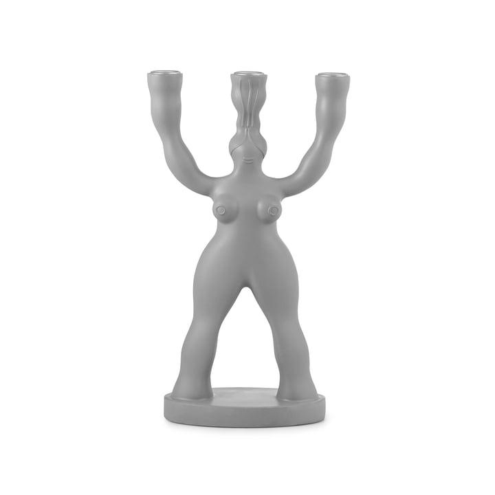 Manikhin 3-arm candlestick in grey by Normann Copenhagen