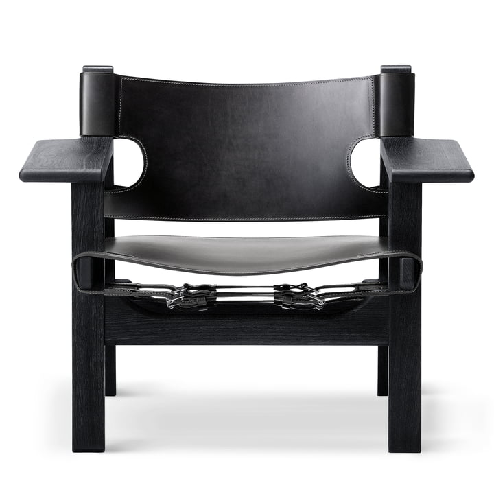 Spanish Chair in black lacquered oak / black leather by Fredericia