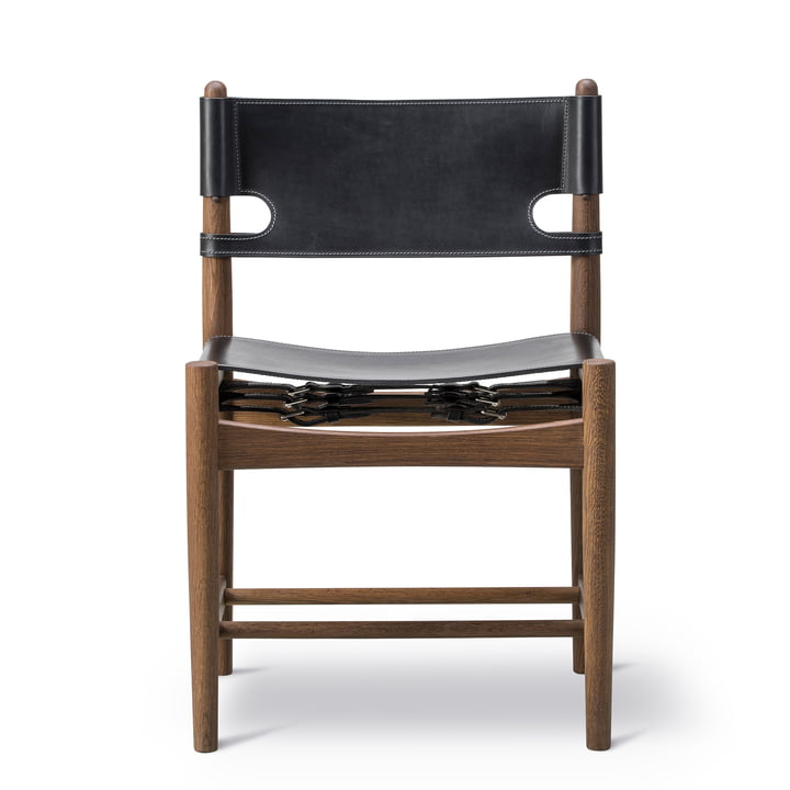 Spanish Dining Chair in smoked oak / black leather by Fredericia