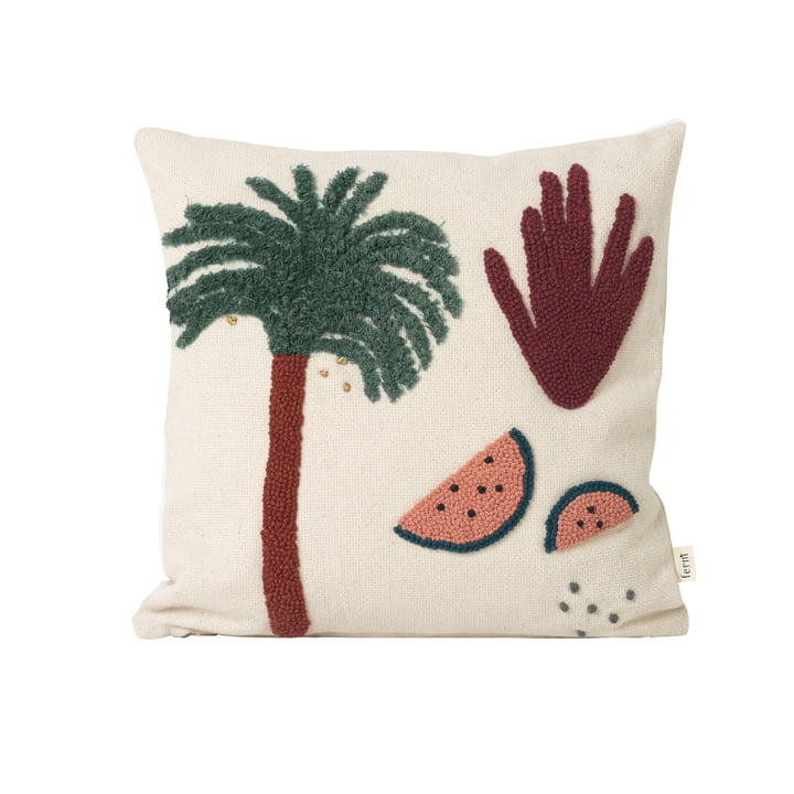 "Embroidered children's cushion ""Palme"" by ferm Living in white"