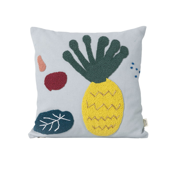 """Embroidered children pillow """"Pineapple"""" by ferm Living in blue"""