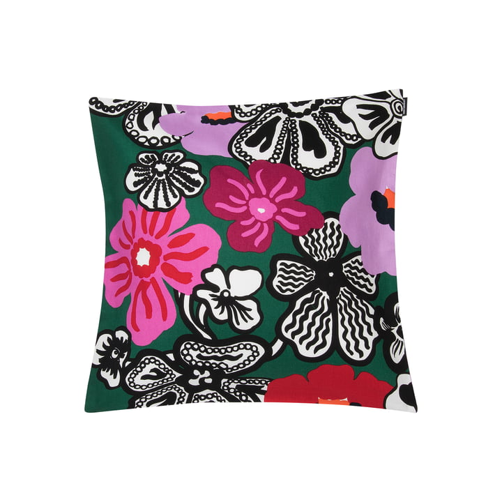 Kaukokaipuu cushion cover 45 x 45 cm from Marimekko in green / violet / red