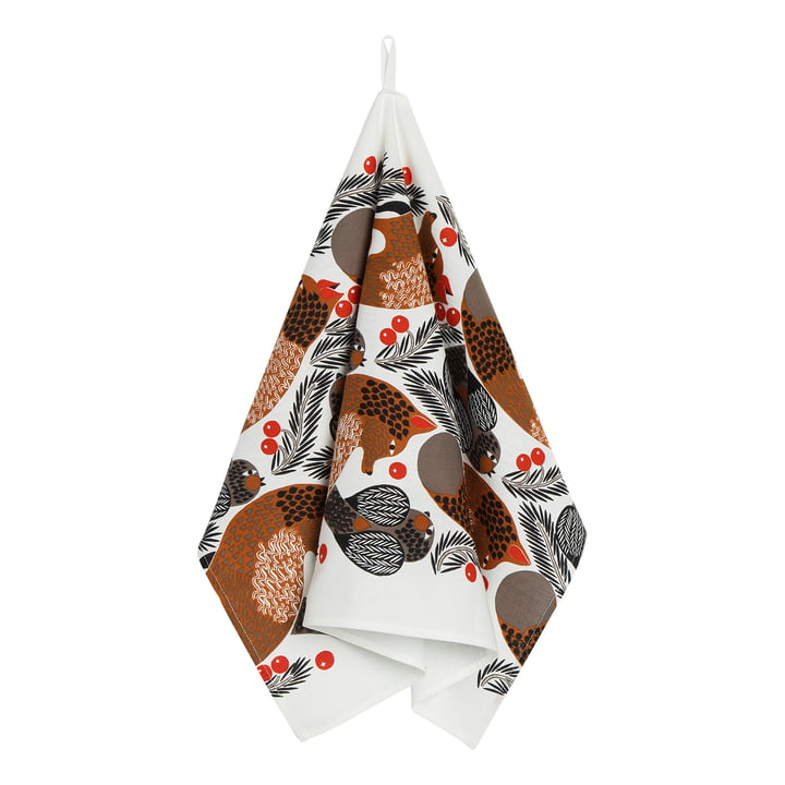 Ketunmarja tea towel, 47 x 70 cm from Marimekko in white / brown / black