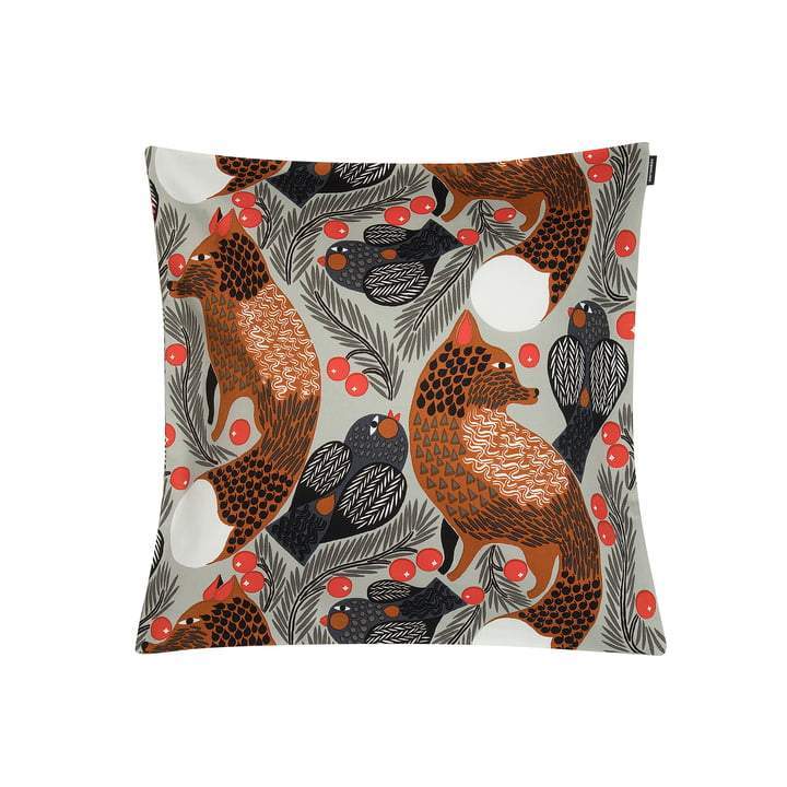 Ketunmarja cushion cover 45 x 45 cm from Marimekko in light grey / brown