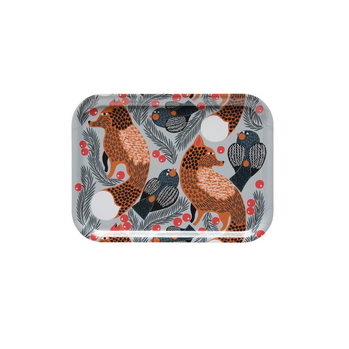 Ketunmarja tray 27 x 20 cm from Marimekko in white / brown / gray