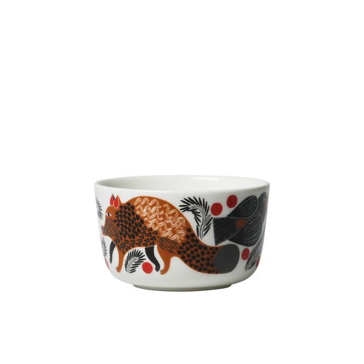 Oiva Ketunmarja bowl 250 ml from Marimekko in white / brown / black