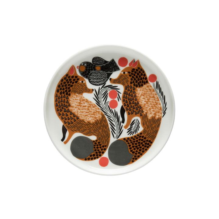 Oiva Ketunmarja plate Ø 13,5 cm from Marimekko in white / brown / black