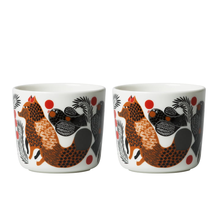 Oiva Ketunmarja cup 200 ml (set of 2) by Marimekko in white / brown / black