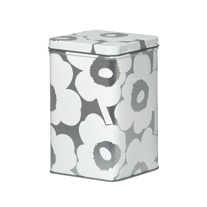 Unikko storage box H 17,5 cm from Marimekko in white / grey