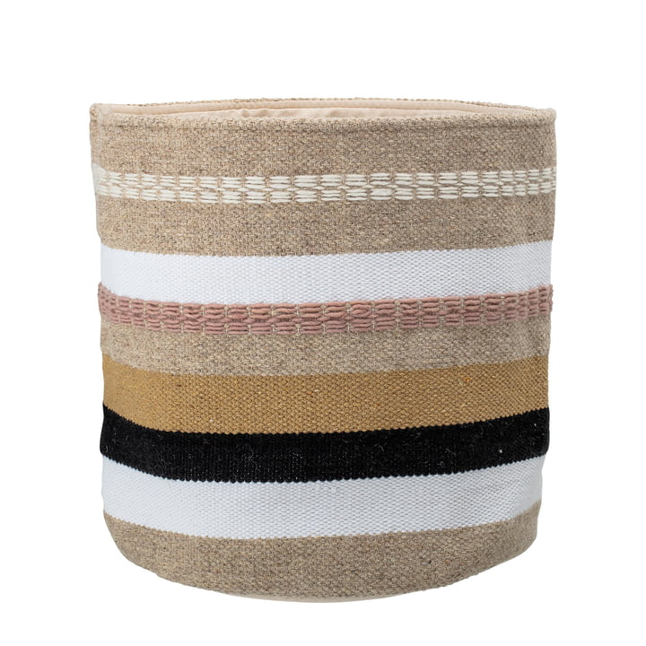 Basket with stripes Ø 36 x H 40 cm from Bloomingville in natural / white / black