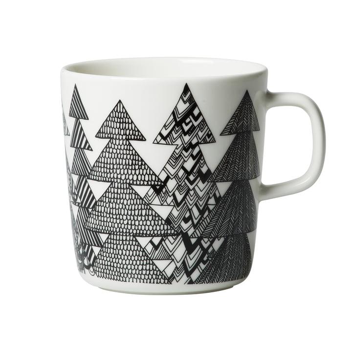 Oiva Kuusikossa cup with handle 400 ml by Marimekko in black / white