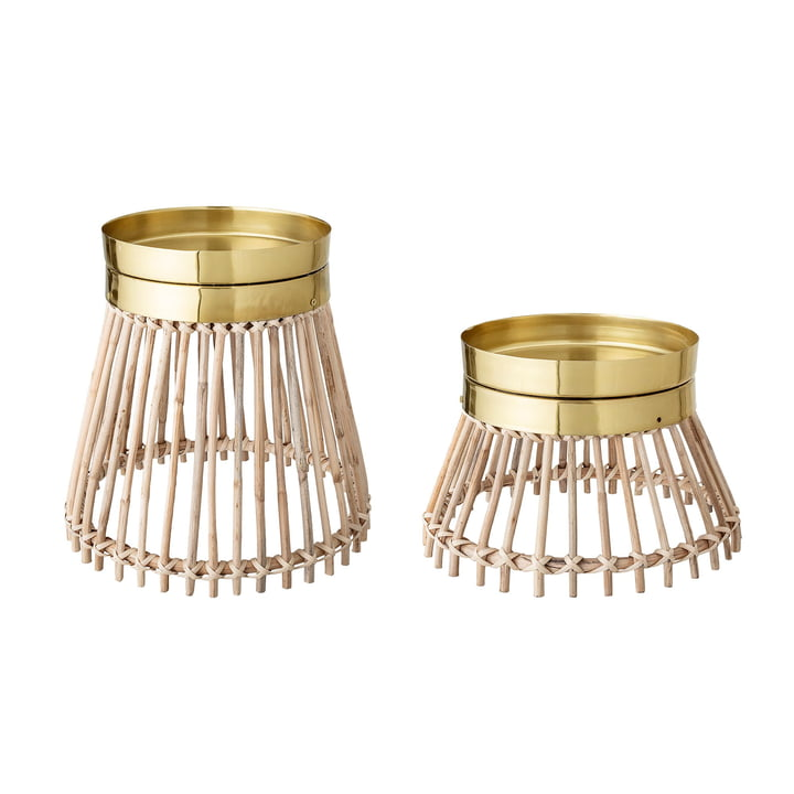 Candles platform from Bloomingville in nature / brass (set of 2)
