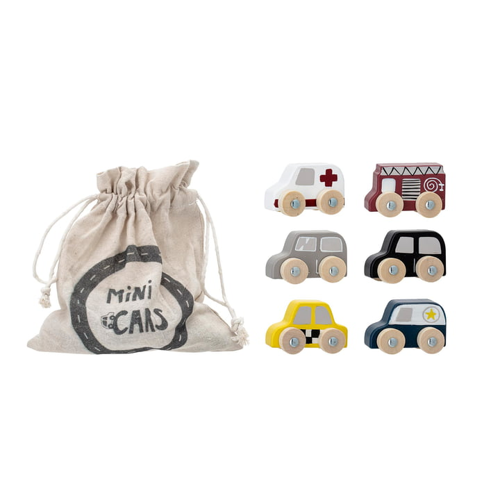 Wooden vehicles from Bloomingville in multi-color (set of 6)