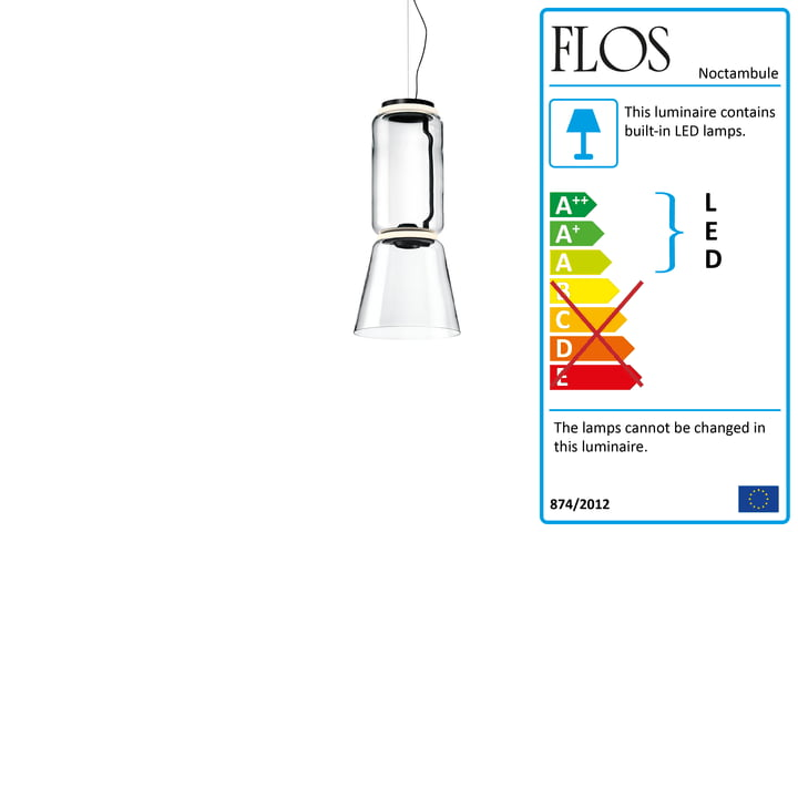 Noctambule pendant lamp S1 Low Cylinder and Cone by Flos in black