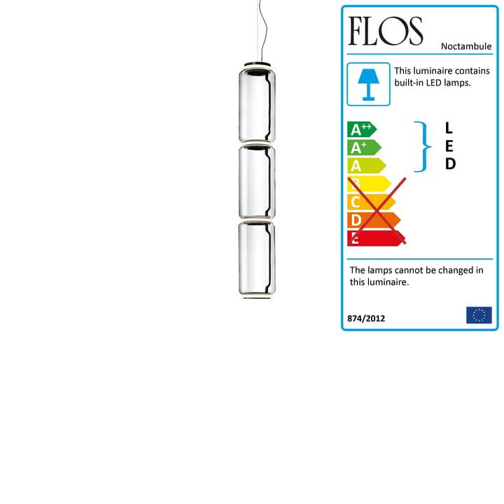 Noctambule pendant lamp S3 High Cylinder by Flos in black