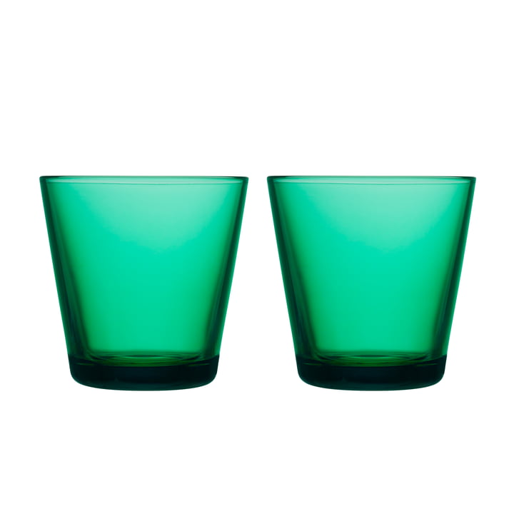 Kartio drinking glass 21 cl (set of 2) from Iittala in emerald green