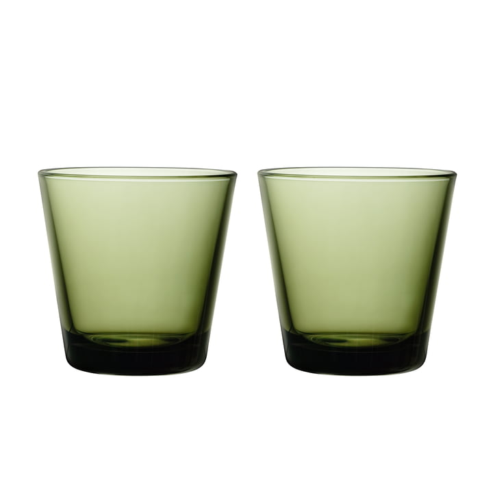 Kartio drinking glass 21 cl (set of 2) from Iittala in moss green