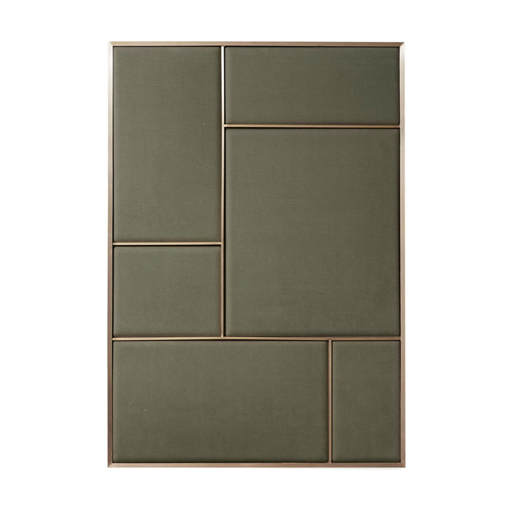 Nouveau Pinboard L, 89 x 62.3 cm, brass / oyster grey from Please wait to be seated
