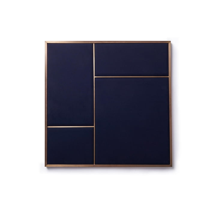 Nouveau Pinboard M, 62.3 x 62.3 cm, brass / navy blue from Please wait to be seated