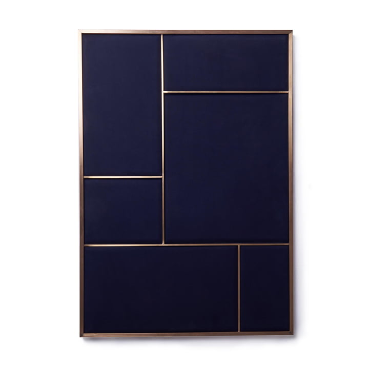 Nouveau Pinboard L, 89 x 62.3 cm, brass / navy blue from Please wait to be seated