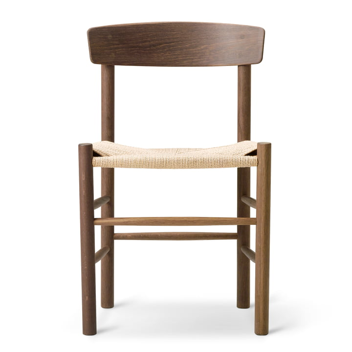 J39 Mogensen chair by Fredericia made of walnut lacquered / natural cord weave