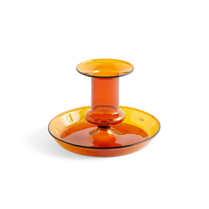 Flare candle holder, Ø 11 x H 7,5 cm in amber by Hay