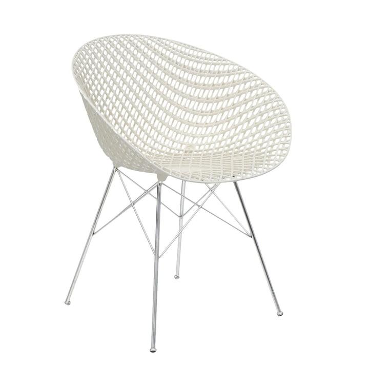 Smatrik chair in chromed / white by Kartell