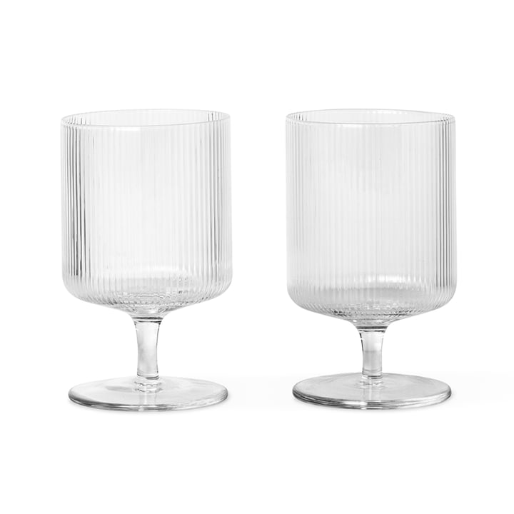 Ripple wine glass from ferm Living in clear (set of 2)
