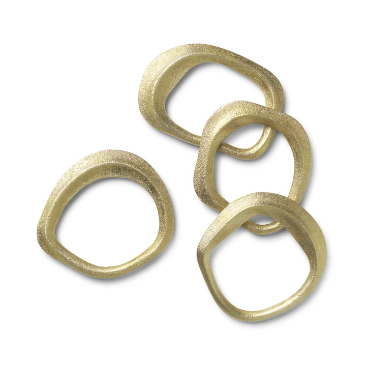 Flow napkin rings from ferm Living in brass (set of 4)
