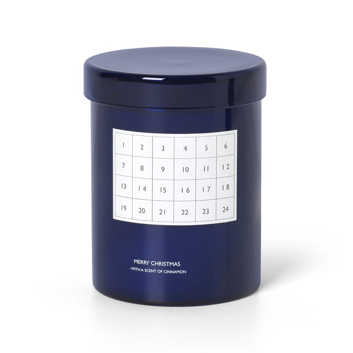 Scented calendar candle from ferm Living in blue